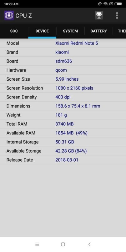 Redmi Note 5 CPU Z (2)