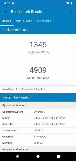 Nokia 6.1 Plus Geekbench