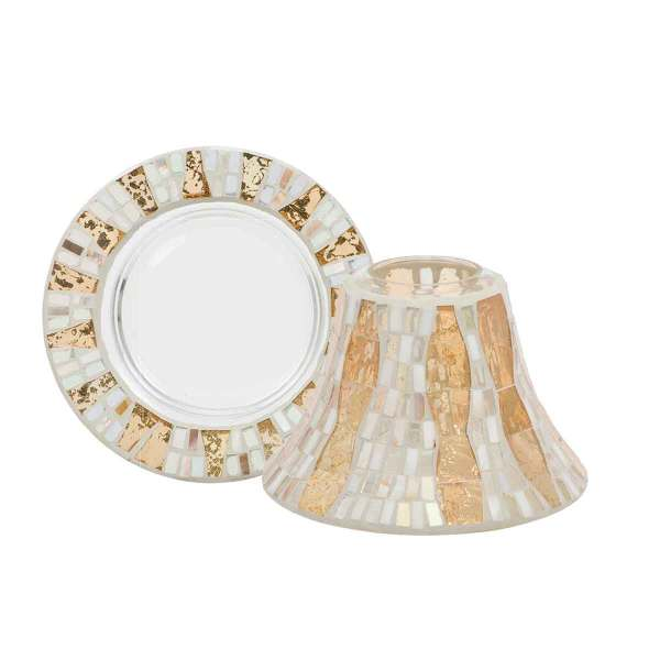 Gold Wave Mosaic Shade and Tray
