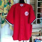 Vintage NEW YORK YANKEES Starter SEWN Red BASEBALL JERSEY Shirt USA Men XL Nice