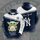 New York YANKEES MLB Hoodie – Pullover Full Zip Baseball – All Over Print 3D
