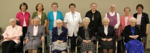 Back Row: S. Jeanne Weber (Subprioress) with 60th Diamond Jubilarians Ss. Anna, Patricia, Rosemary, Cynthia, Valerie, and Sr. Penny Bingham (Prioress) Front Row: 75th Diamond Jubilarian Wilma, 70th Diamond Jubilarians Jane Frances, Yvonne, Evangeline, Marie Helene, and Victorine