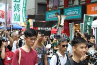 On the day of the 20th anniversary of the handover of Hong Kong to China protesters are marching in the streets to claim Hong Kong independence from China on Jul 1, 2017 in Hong Kong, Hong Kong.