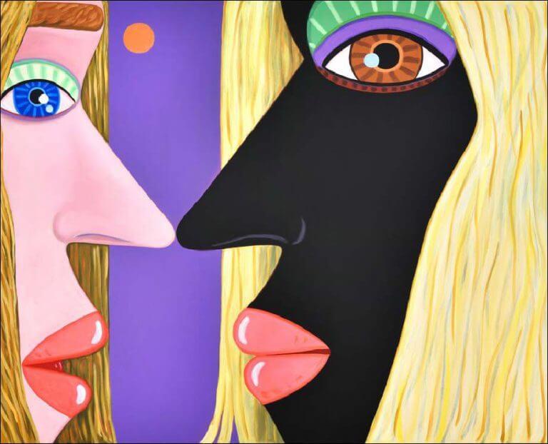 Deux visages de femmes dans un style abstrait face à face très proches