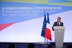 8 septembre 2015, Paris, France. M. François Hollande, président de la République réalise une allocution au forum Mondial Convergences 2015.