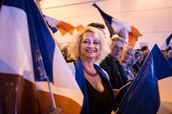 2 décembre 2015, Nîmes (Gard). Des militants du Front National (FN) au dernier meeting de Marine Le Pen et Louis Alliot à Nîmes dans le Gard dans le cadre des régionales Languedoc-Roussillon Midi-Pyrénées.