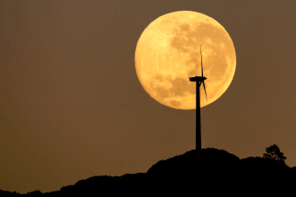 Moonset Over Brooklyn Wind Turbine by Mark Gee