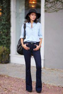 осенние образы с джинсами-клеш