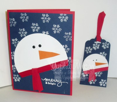 Snowman card & tag by Yapha