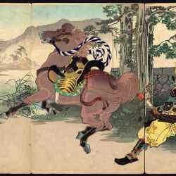 """General Hideyoşinin atı"" 1880. Toshihide Migita (1862-1925)."