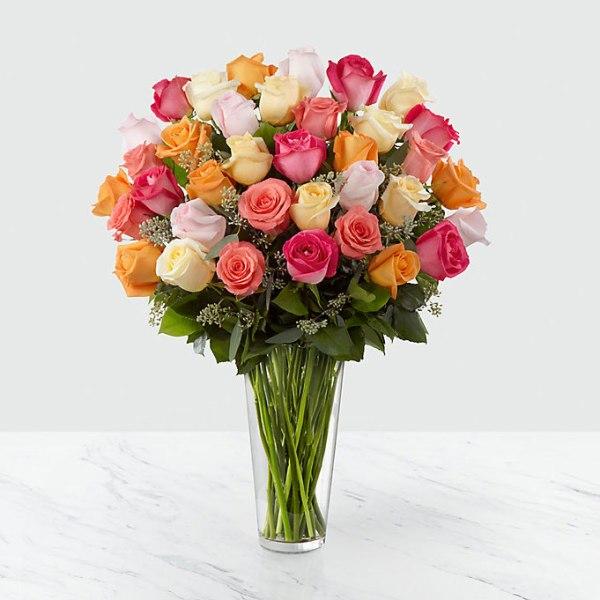 36 Long Stem Multi Colored Roses