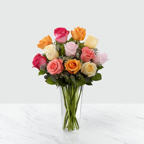 12 Long Stem Multi Colored Roses
