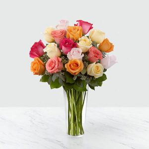 18 Long Stem Multi Colored Roses