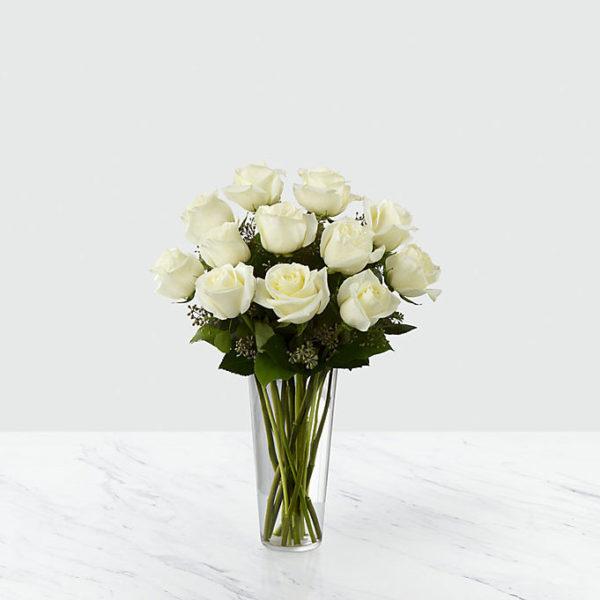 12 Long Stem White Roses
