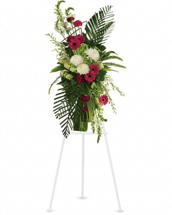 Gerberas and Palms Spray Flower Stand Yara Flowers