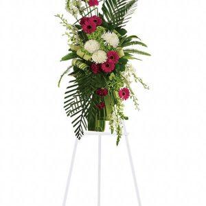 Gerberas and Palms Spray Flower Stand Yara Flowers