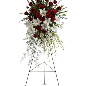 Lily and Rose Tribute Spray Flower Stand Yara Flowers