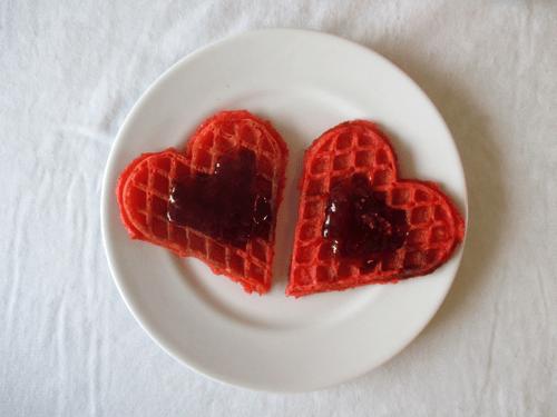 Lækre røde Valentines vafler