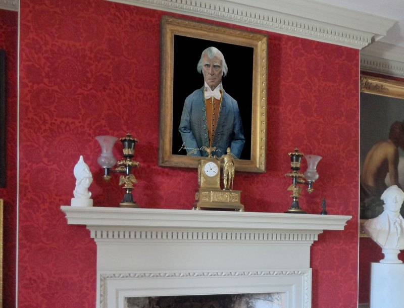 James Madison Portrait hanging in the drawing room at Montpelier