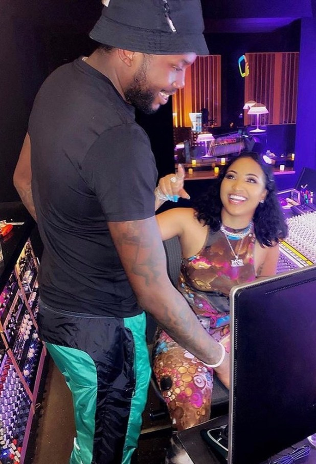 Shenseea released a photo of herself in the studio with Meek Mill the rapper