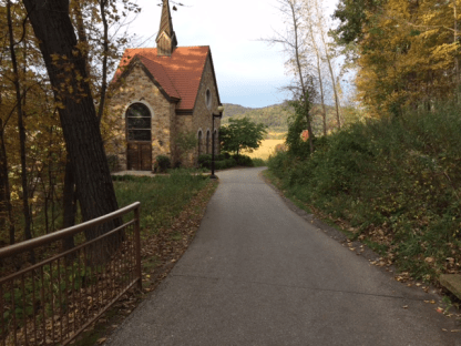 Down the hill to the Votive Candle Chapel