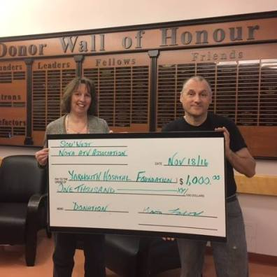 A number of community groups take the initiative to raise funds in support of the Yarmouth Hospital Foundation. A sincere thank you Kevin Lombard (R) and all Sou'West Nova ATV Association members for their continued support for community health care!!