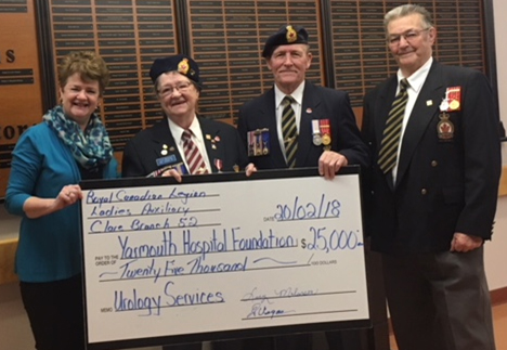 From L to R: Paulette Sweeney-Goodwin, managing director of the Yarmouth Hospital Foundation accepts a cheque for the lead gift of $25,000 for the new urology program at Yarmouth Regional Hospital from Lucy Melanson, immediate past-president of the Royal Canadian Legion, Branch 52 Saulnierville, women's auxiliary, along with Emile Dugas and Hector LeBlanc, past-presidents of Branch 52. Thank You! This lead gift was essential to help purchase the equipment needed to start the urology program.
