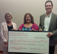 The Yarmouth Regional Hospital Women's Auxiliary president Donna Kitter-Lloy (centre), presents a donation of $150,000, to YHF board chair Shirley d'Entrement (left) and Enhancing Health Care campaign chair Greg Barro (right) - another demonstration of its commitment to quality health care in the Yarmouth area.