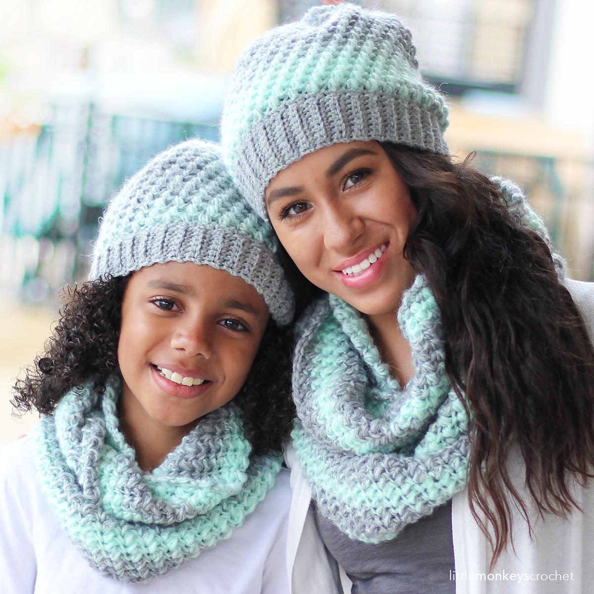 Landon Slouch Hat Scarf Crochet Pattern Set Yarn Chai