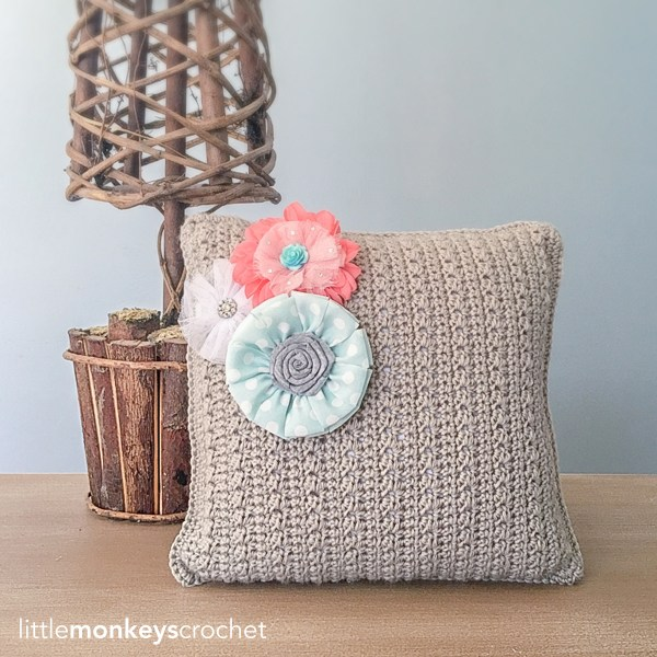 Throw Pillow with Removable Flower Accents