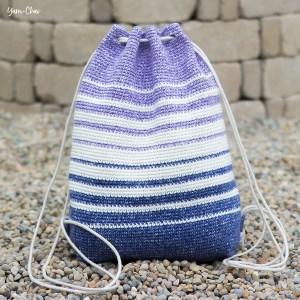Fading Stripes Bag | Backpack Cinch Bag Crochet Pattern by Yarn + Chai