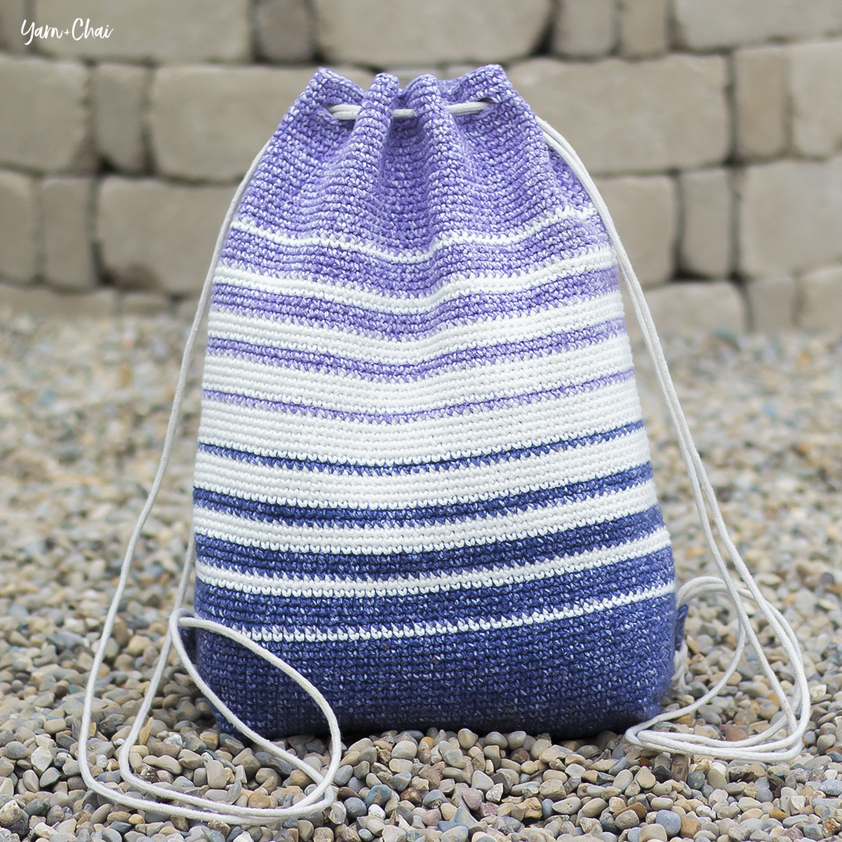 Fading Stripes Bag | Backpack Cinch Bag Crochet Pattern by Yarn + Chai
