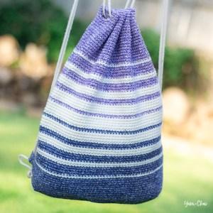 Fading Stripes Bag   Backpack Cinch Bag Crochet Pattern by Yarn + Chai