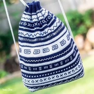Mudcloth Bag   Backpack Cinch Bag Crochet Pattern by Yarn + Chai