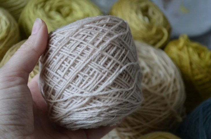 Sock yarn dyed with fermented lichen (Evernia prunastri) - the color is very weak...