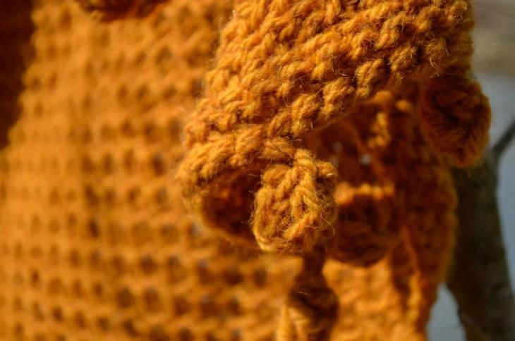 Limonite - Tunisian crochet shawl detail with popcorns