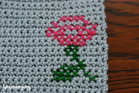 Cross-stitch Rose Crochet Eyeglass Case - Yarnanigans