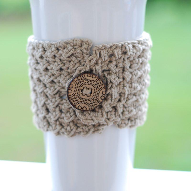 Textured Crochet Coffee Cup Cozy