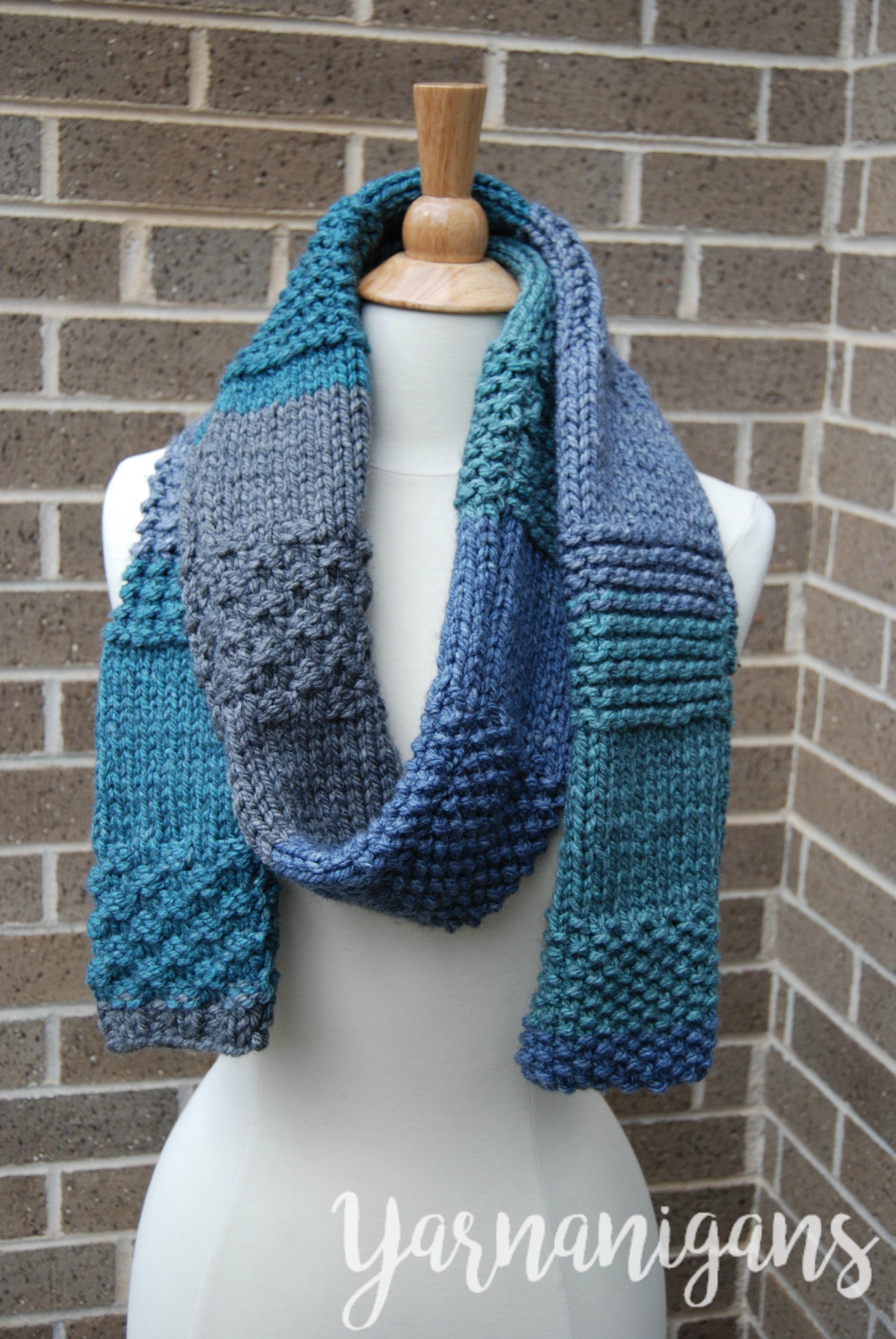 61e26935d Knit Sampler Scarf - Free Knit Pattern - Yarnanigans