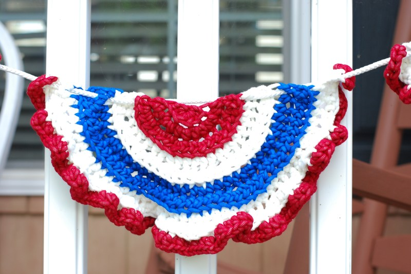patriotic flag bunting red white blue crochet ruffle