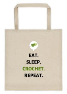 Eat Sleep Crochet Repeat Tote 3