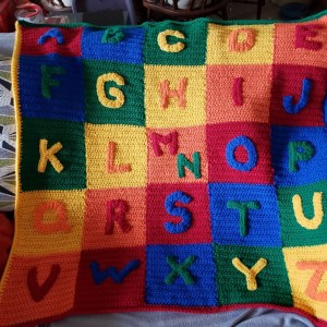 crochet baby blanket pattern with alphabet letters