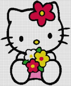Hello Kitty Flowers – (Chart/Graph AND Row-by-Row Written Instructions) – 06
