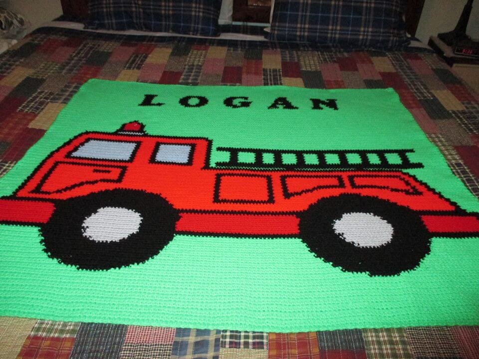 Fire Truck Graphghan
