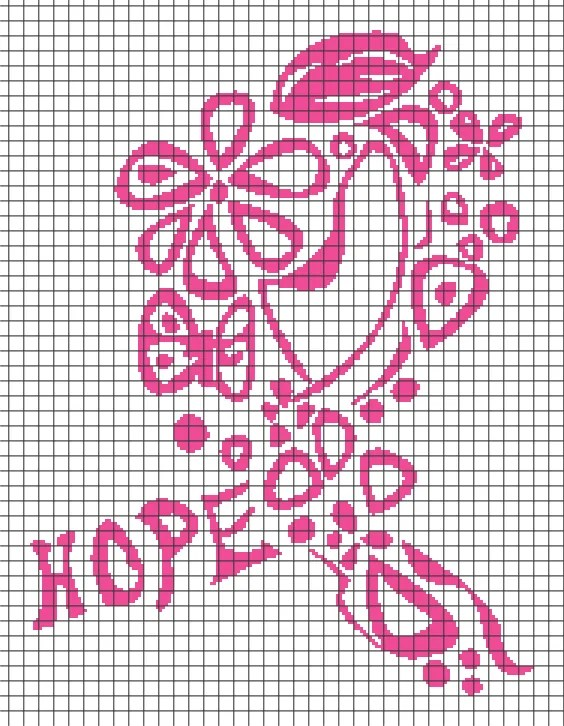 Breast Cancer Ribbon – Hope (Chart/Graph AND Row-by-Row Written Crochet Instructions) – 04