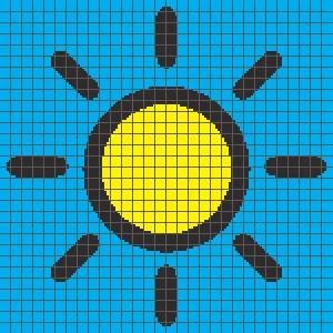 Sun PILLOW (Graph AND Row-by-Row Written Crochet Instructions) – 01