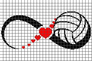 Volleyball Love Infinity (Graph AND Row-by-Row Written Crochet Instructions) - 03