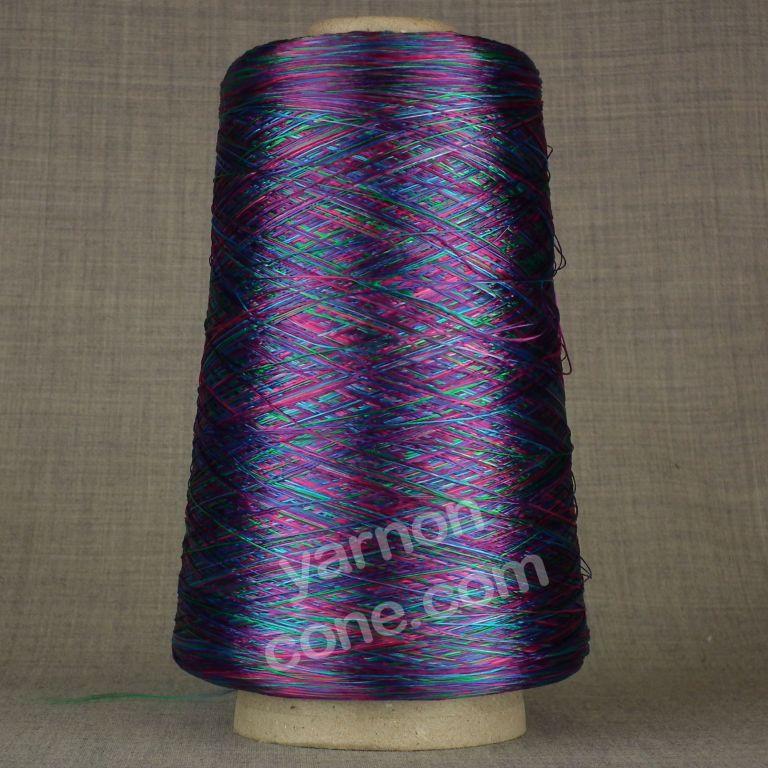 laceweight purple pink space dyed dye viscose rayon yarn on cone hand machine knitting weaving crochet