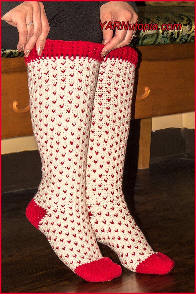Crochet Tutorial Fair Isle Knee High Socks Yarnutopia By Nadia