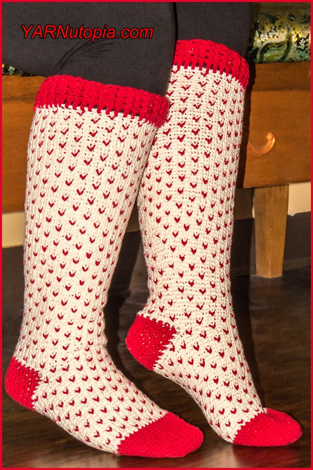 Crochet Tutorial Fair Isle Knee High Socks Yarnutopia By Nadia